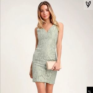 Lulus Normani Sage Green Sleeveless Dress